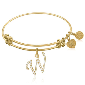 Expandable Yellow Tone Brass Bangle with W Symbol with Cubic Zirconia