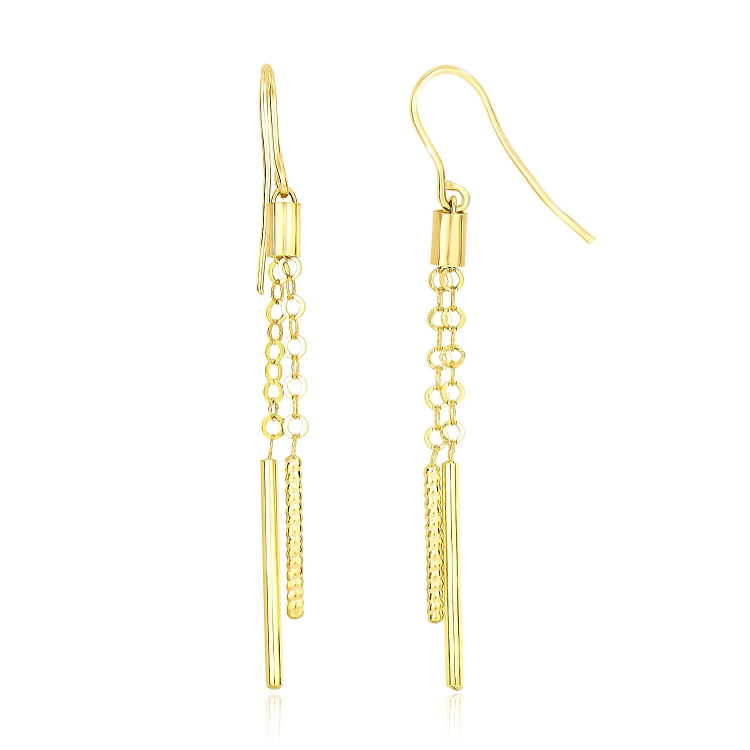 14K Yellow Gold Double Strand Cylinder and Chain Drop Style Earrings