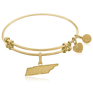 Expandable Yellow Tone Brass Bangle with Tennessee Symbol