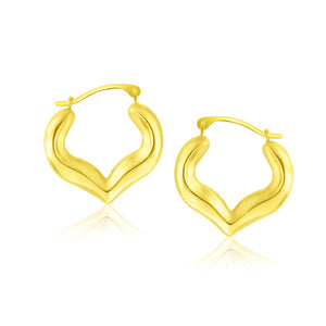 10K Yellow Gold Hoop Style Heart Shape Earrings
