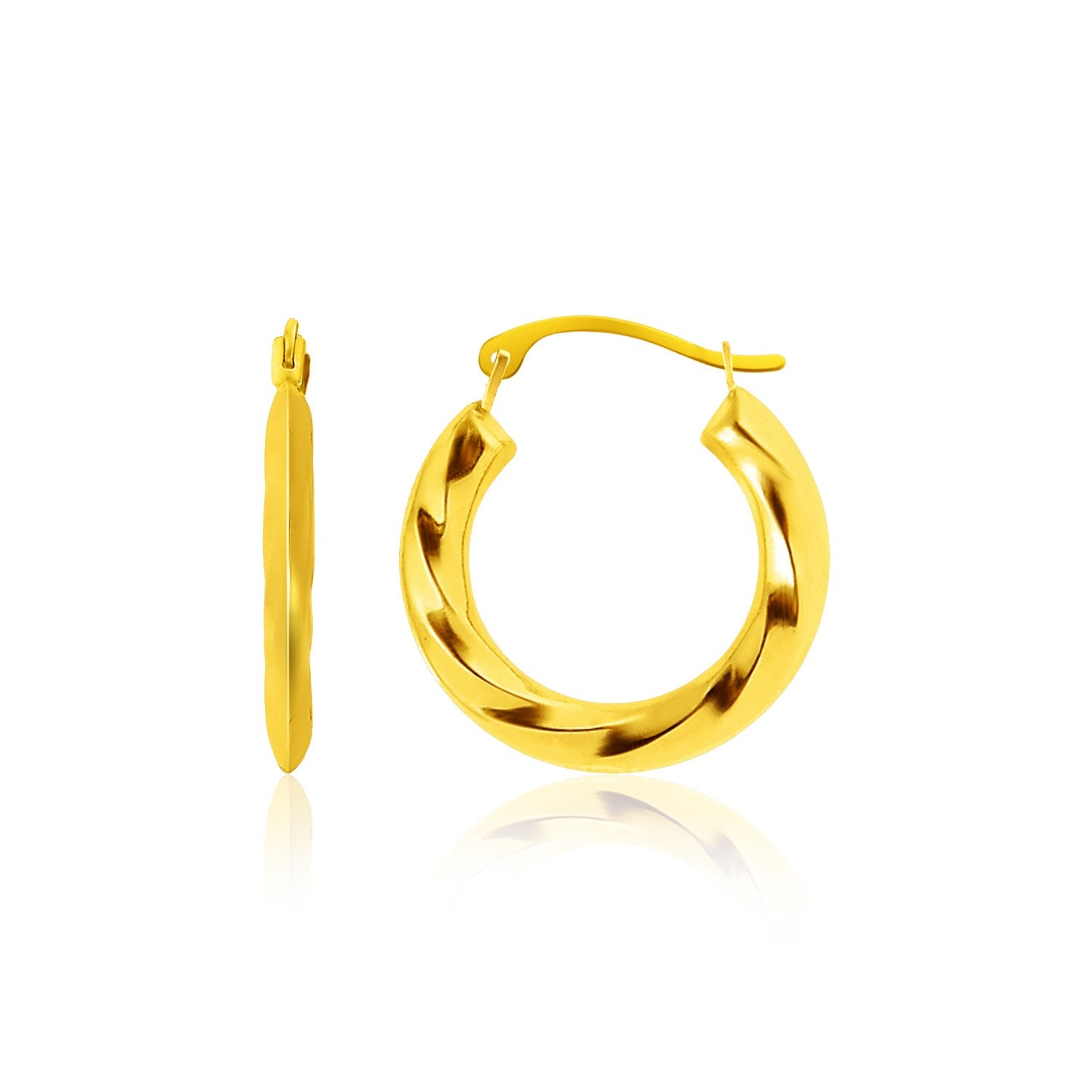 14K Yellow Gold Wavy Texture Hoop Earrings