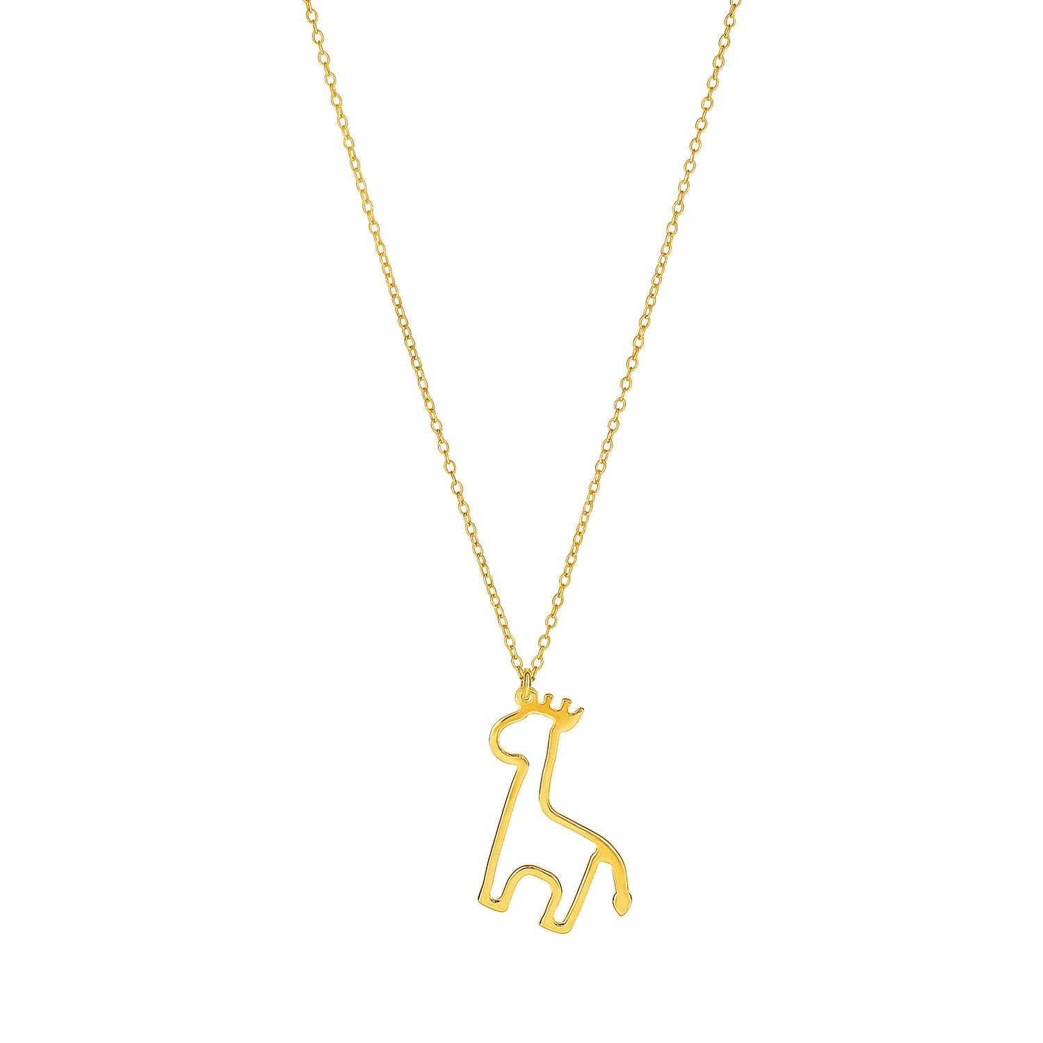 14K Yellow Gold Oval Link with Giraffe Pendant