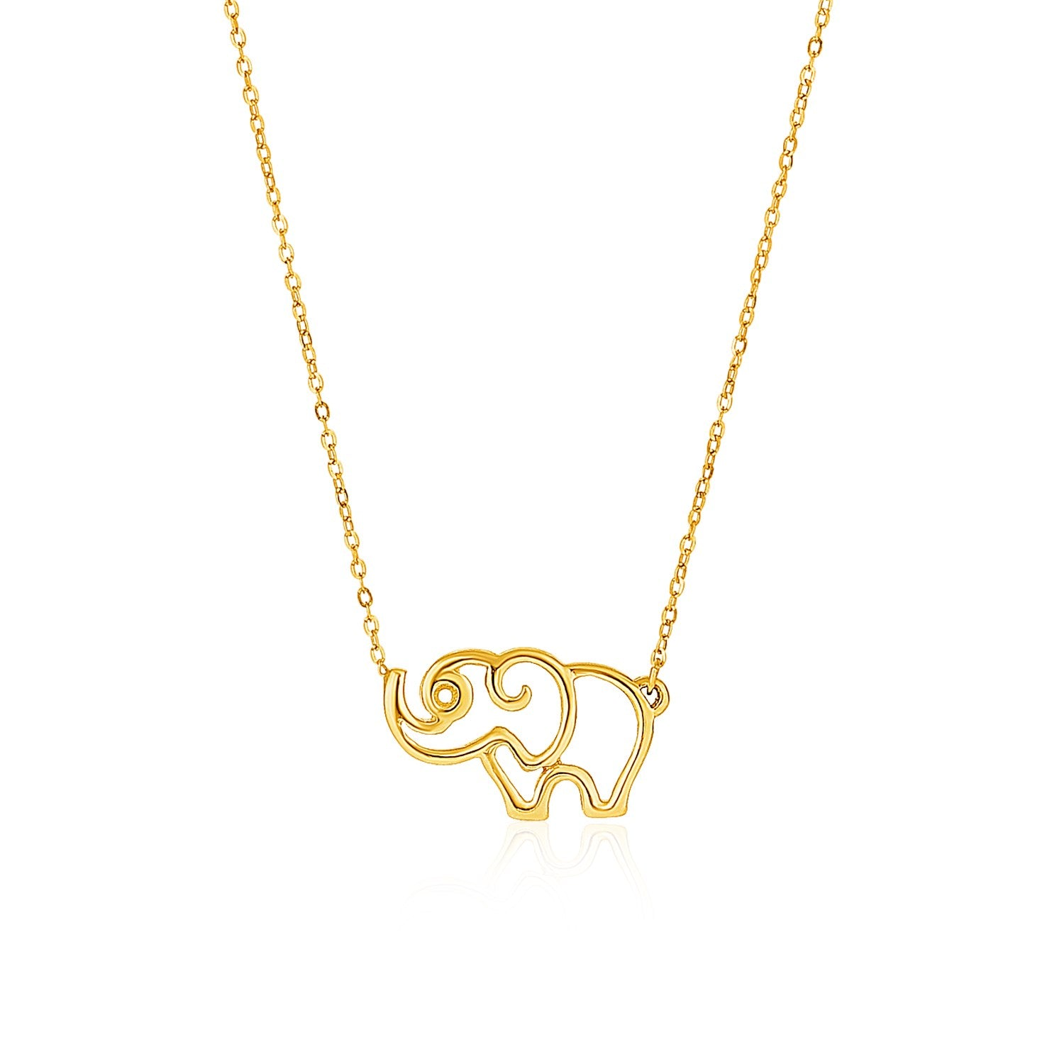 14K Yellow Gold Cable Chain with Elephant Pendant