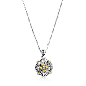 Distinctive Luxury London Style 18K Yellow Gold & Sterling Silver Floral Style Byzantine Textured Pendant