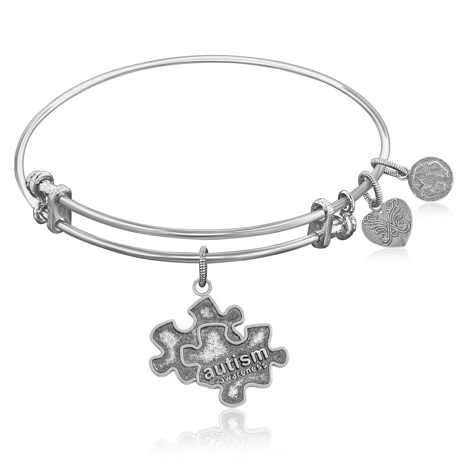 Expandable Bangle in White Tone Brass with Autism Awareness Symbol