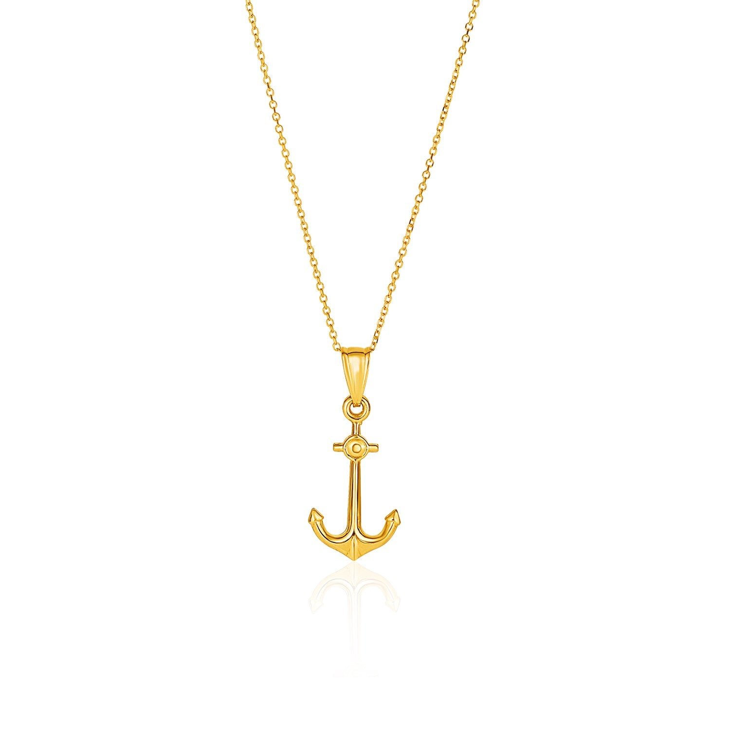 14K Yellow Gold Cable Chain with Anchor Pendant