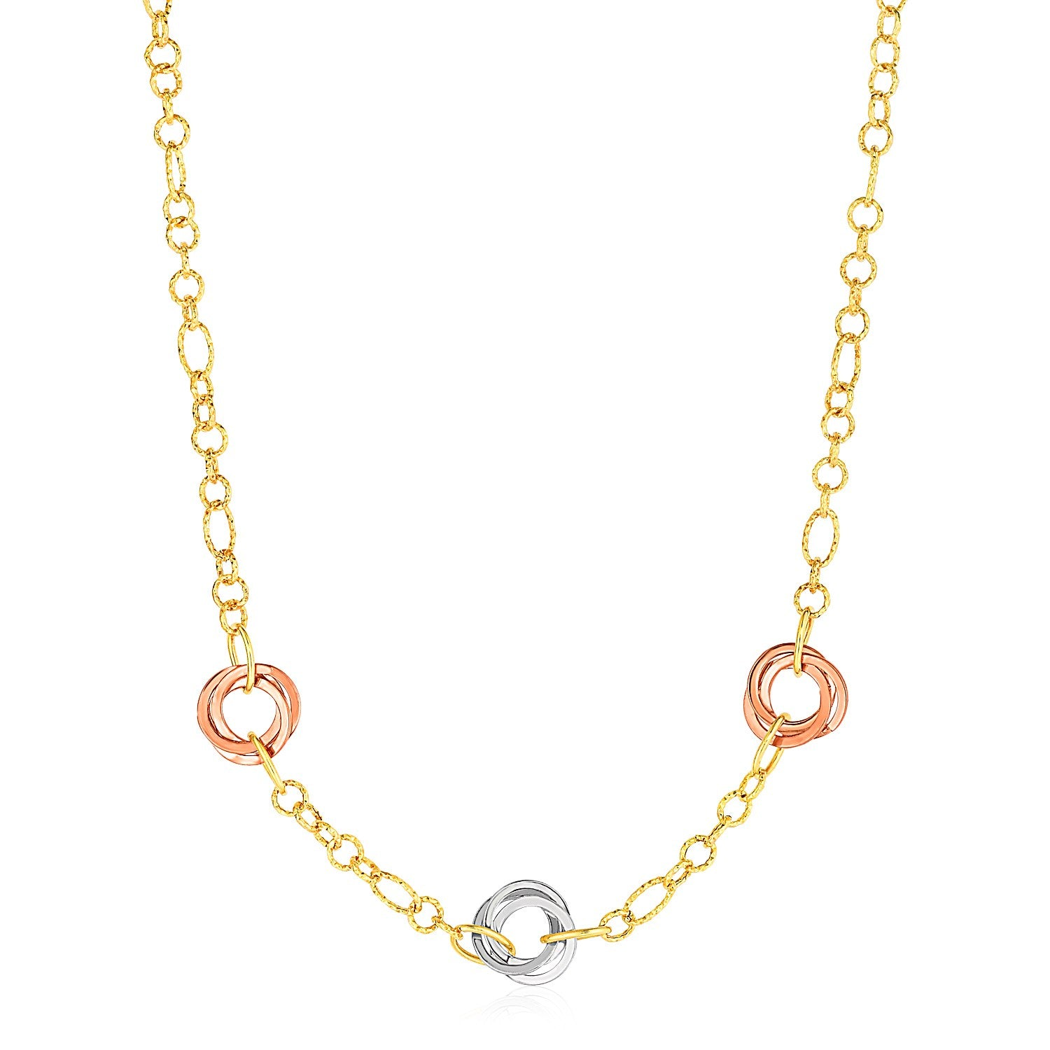 Necklace with Interlocking Rings in 14K Tri Color Gold