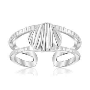 Sterling Silver Rhodium Plated Shell Design Open Toe Ring - Uniquepedia.com