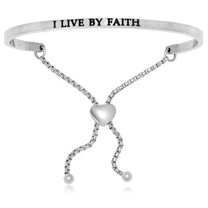 Stainless Steel I Live By Faith Adjustable Bracelet