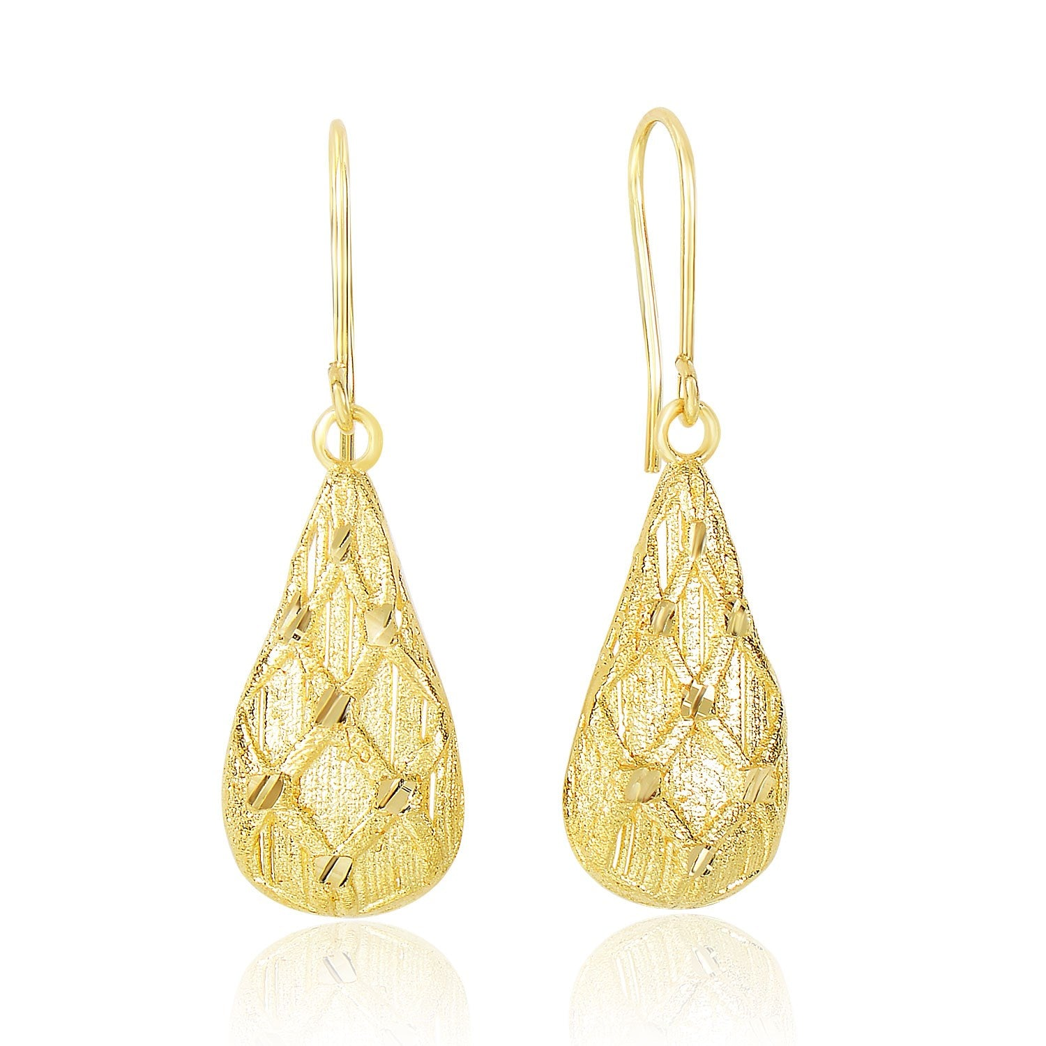 14K Yellow Gold Diamond Sanded Textured Design Teardrop Earrings