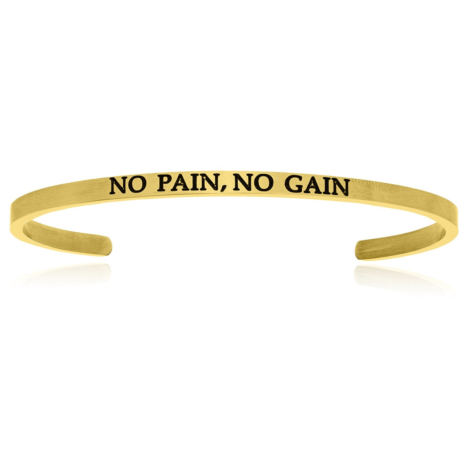 Yellow Stainless Steel No Pain  No Gain Cuff Bracelet