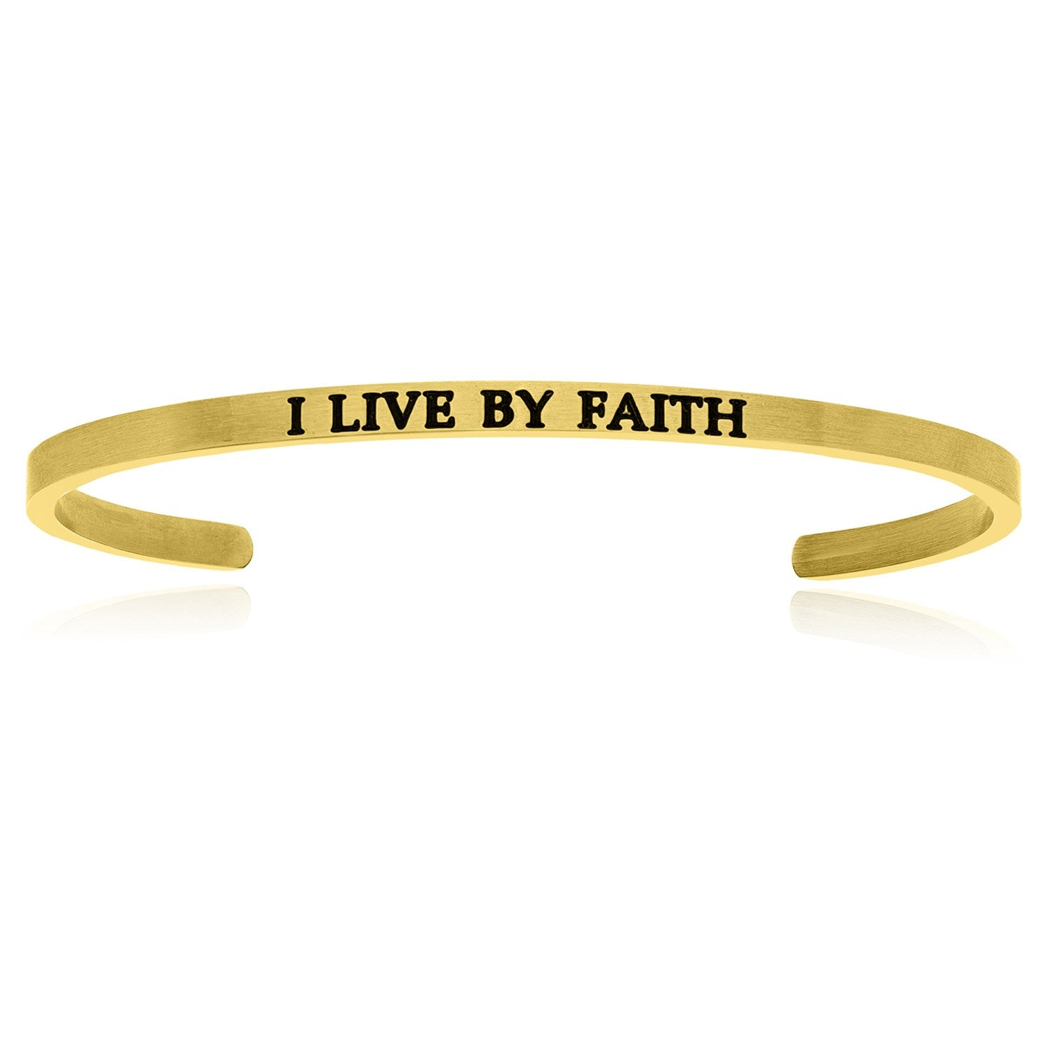 Yellow Stainless Steel I Live By Faith Cuff Bracelet