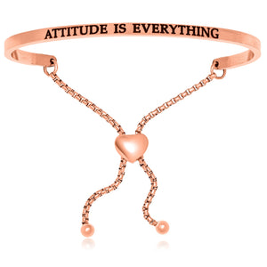 Pink Stainless Steel Attitude Is Everything Adjustable Bracelet
