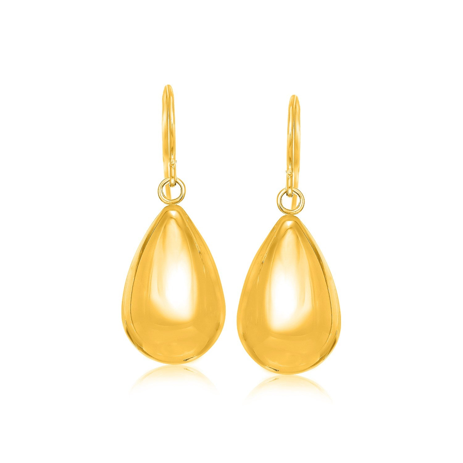 14K Yellow Gold Polished Teardrop Motif Drop Earrings