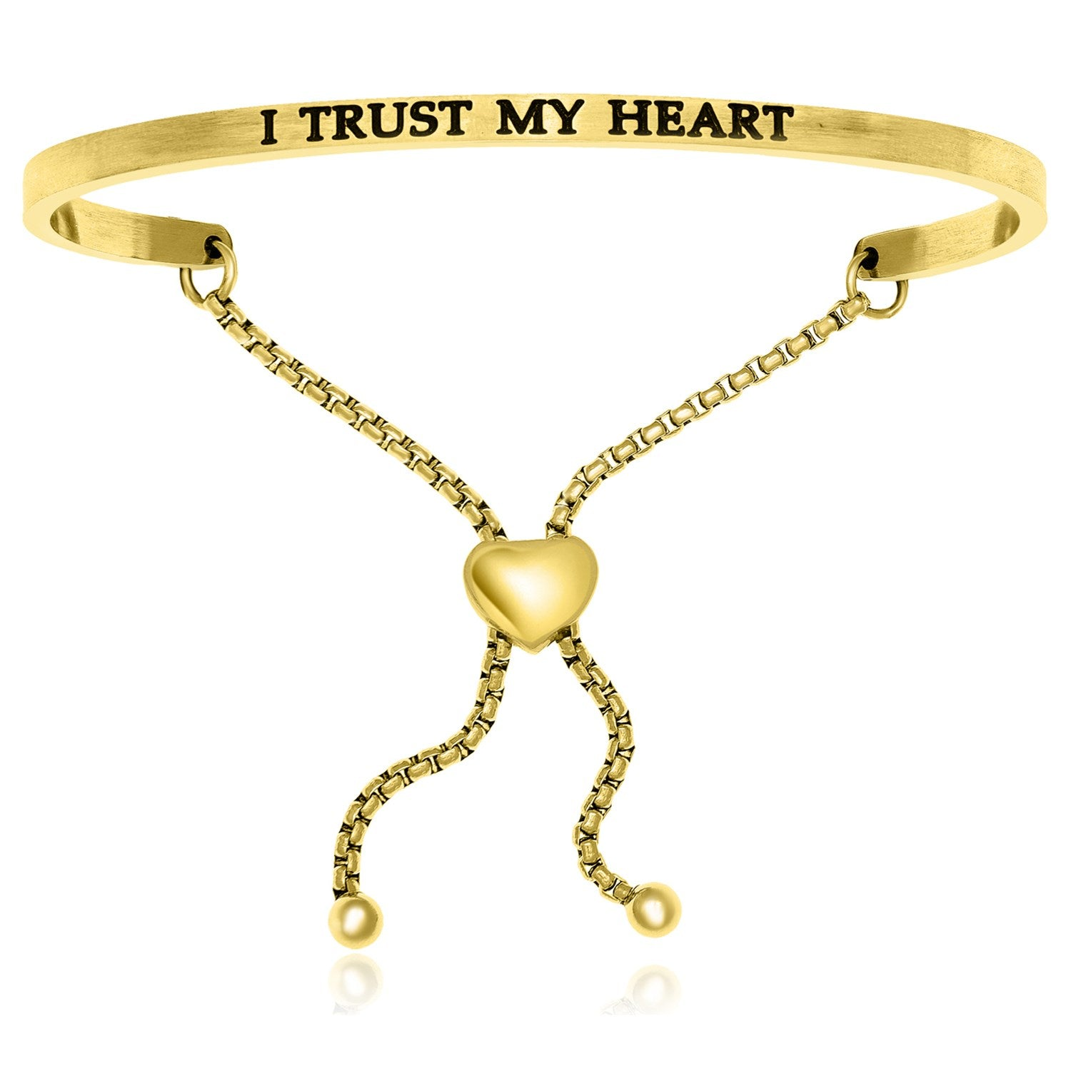 Yellow Stainless Steel I Trust My Heart Adjustable Bracelet