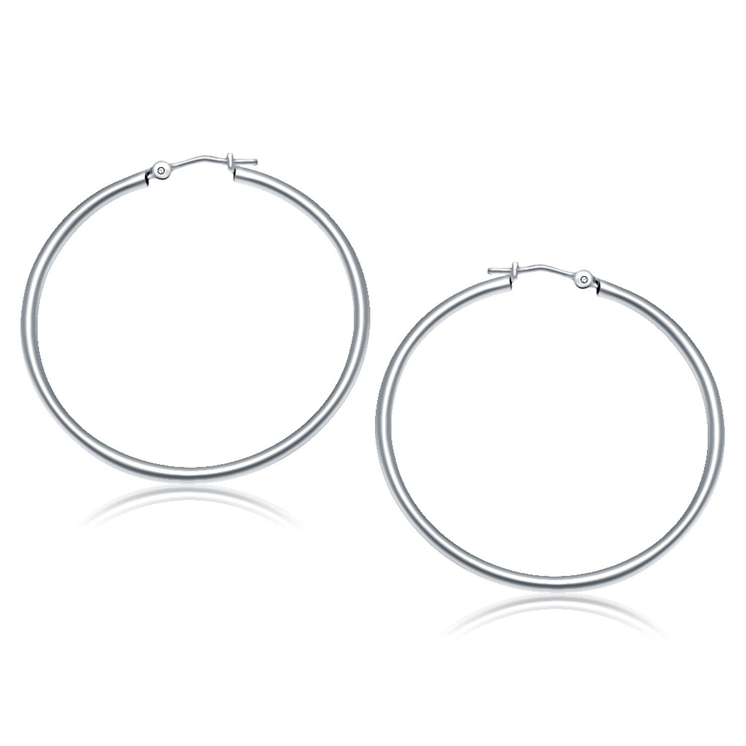Modern Hollywood Style Classy 10K White Gold Polished Hoop Earrings (40 mm)