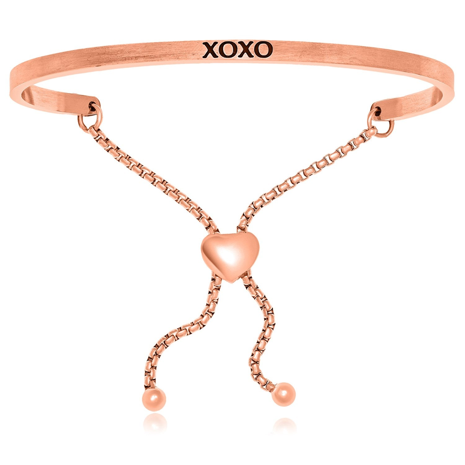 Pink Stainless Steel XOXO Adjustable Bracelet