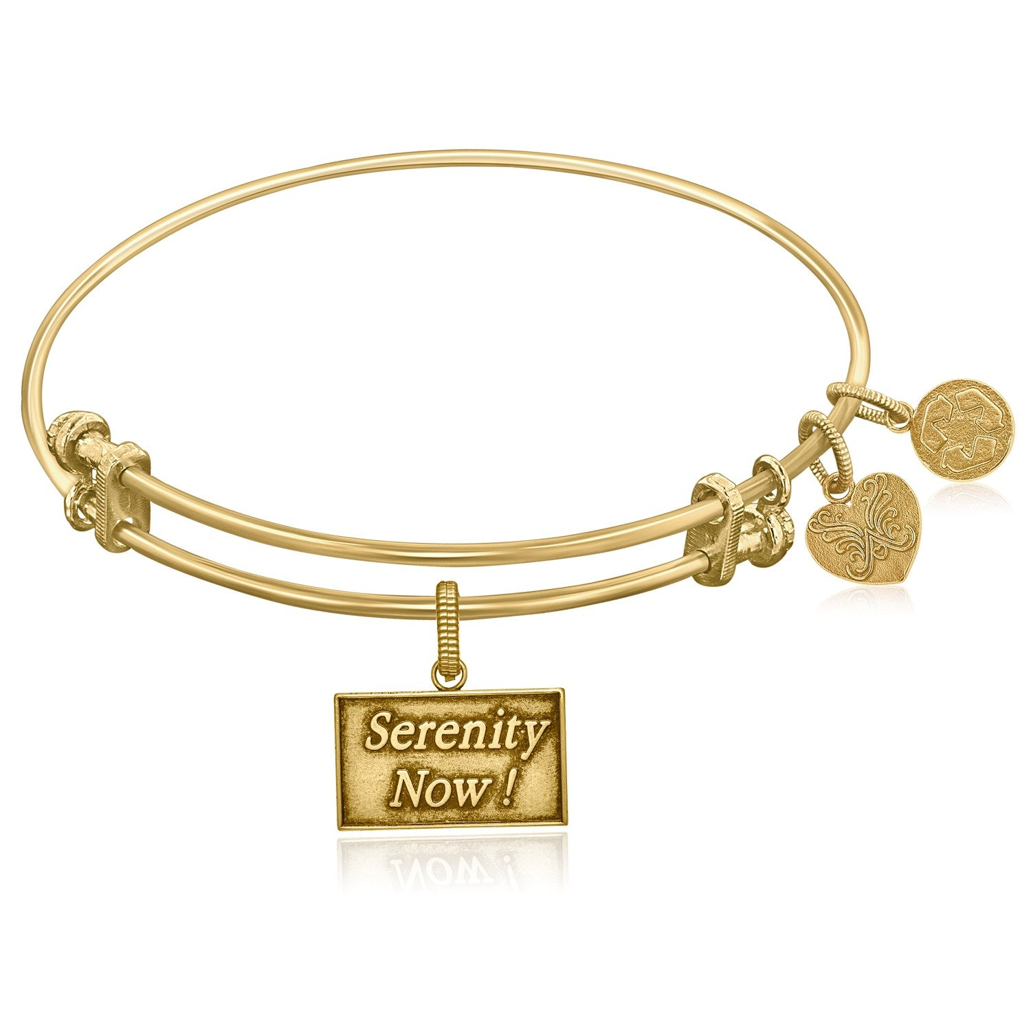 Expandable Yellow Tone Brass Bangle with Seinfeld Serenity Now! Symbol