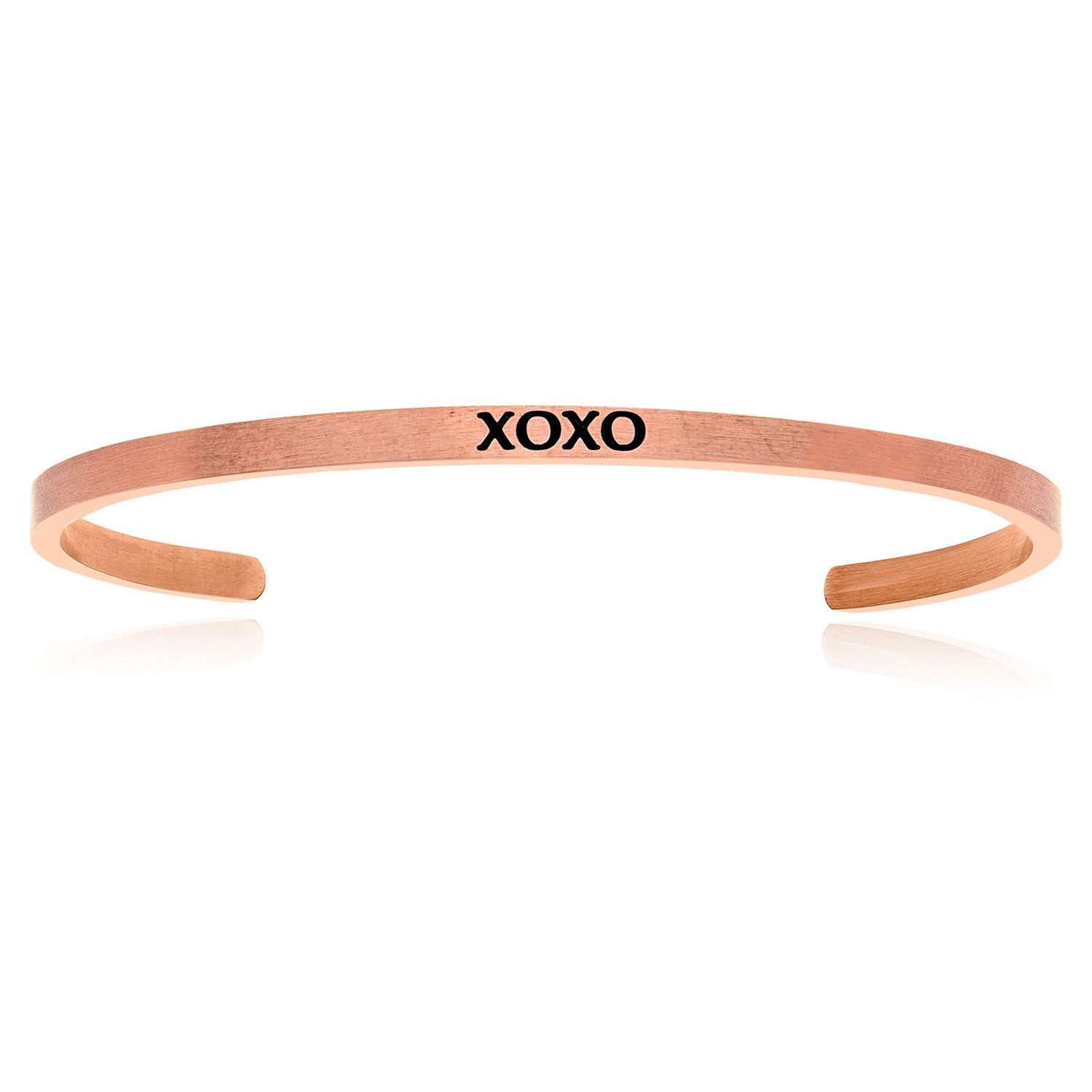 Pink Stainless Steel XOXO Cuff Bracelet