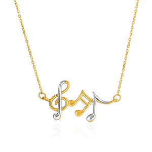 Unique Hollywood Style 14K Two-Toned Yellow and White Gold Musical Notes Necklace