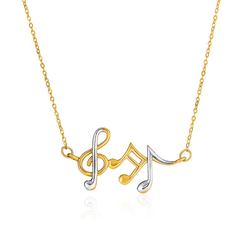 14K Two-Toned Yellow and White Gold Musical Notes Necklace