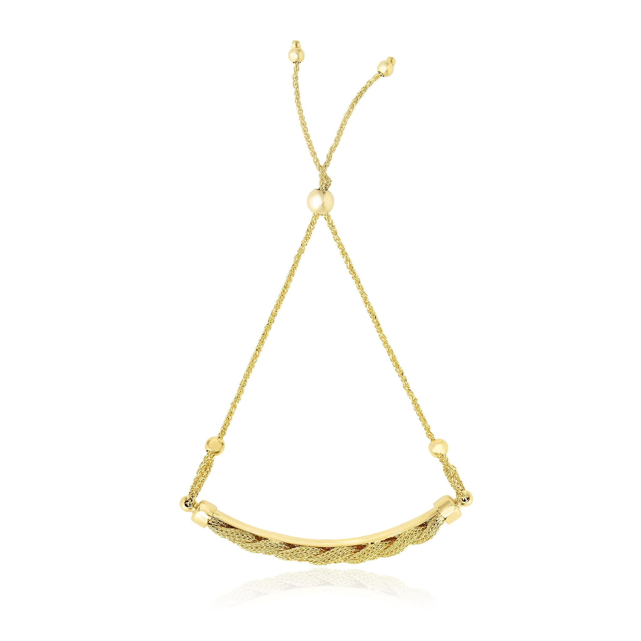 14K Yellow Gold Bar and Chain Adjustable Lariat Style Bracelet