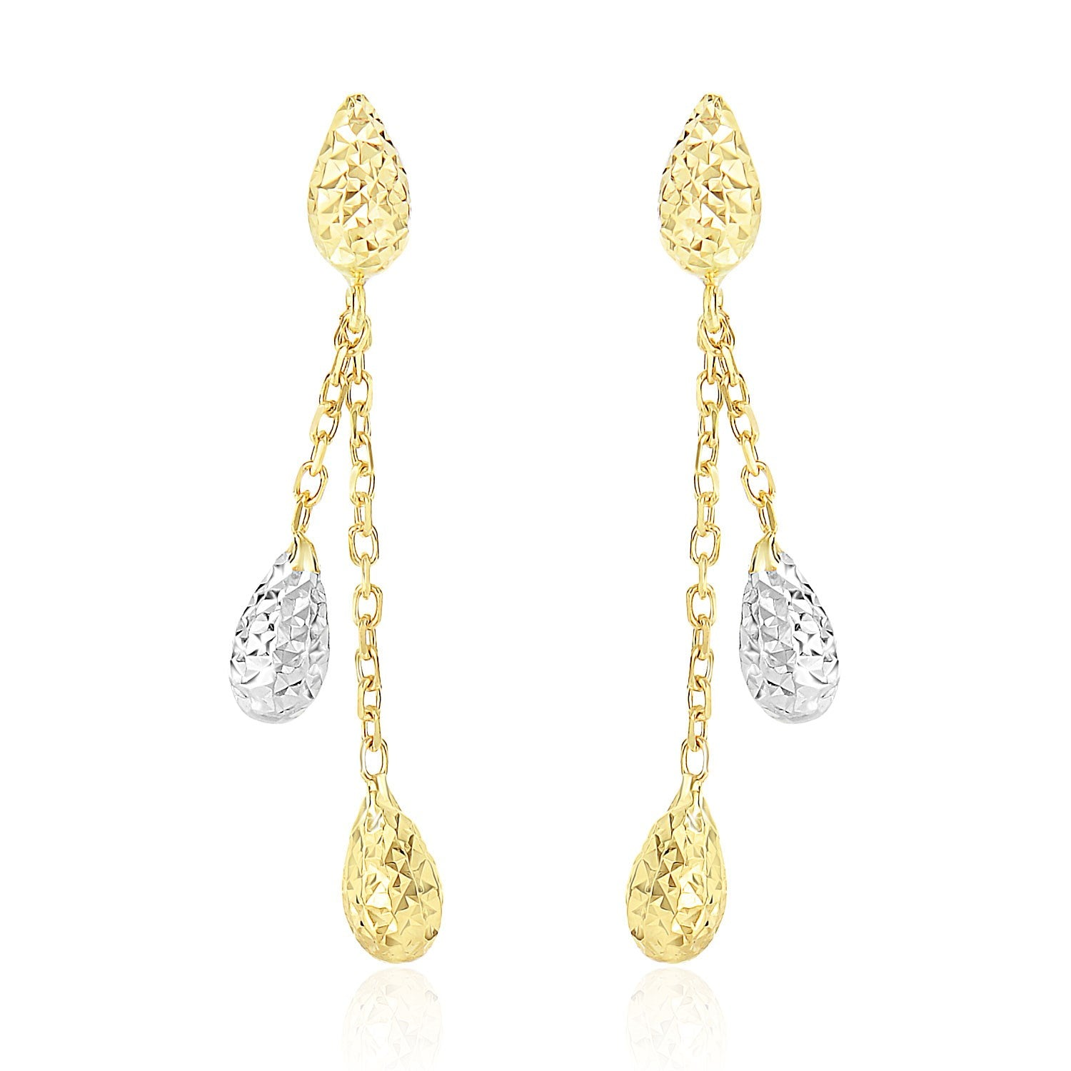 14K Two-Tone Gold Double Row Chain Earrings with Diamond Cut Teardrops