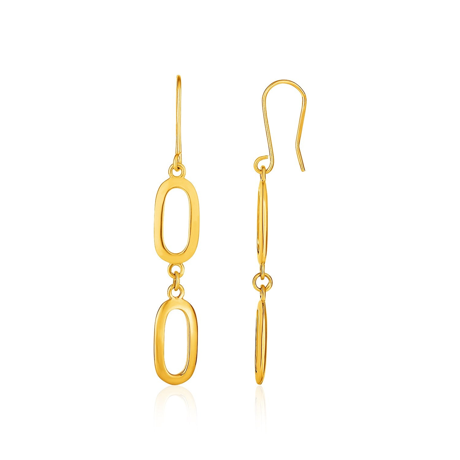 14K Yellow Gold Chain and Soft Rectangular Link Drop Earrings
