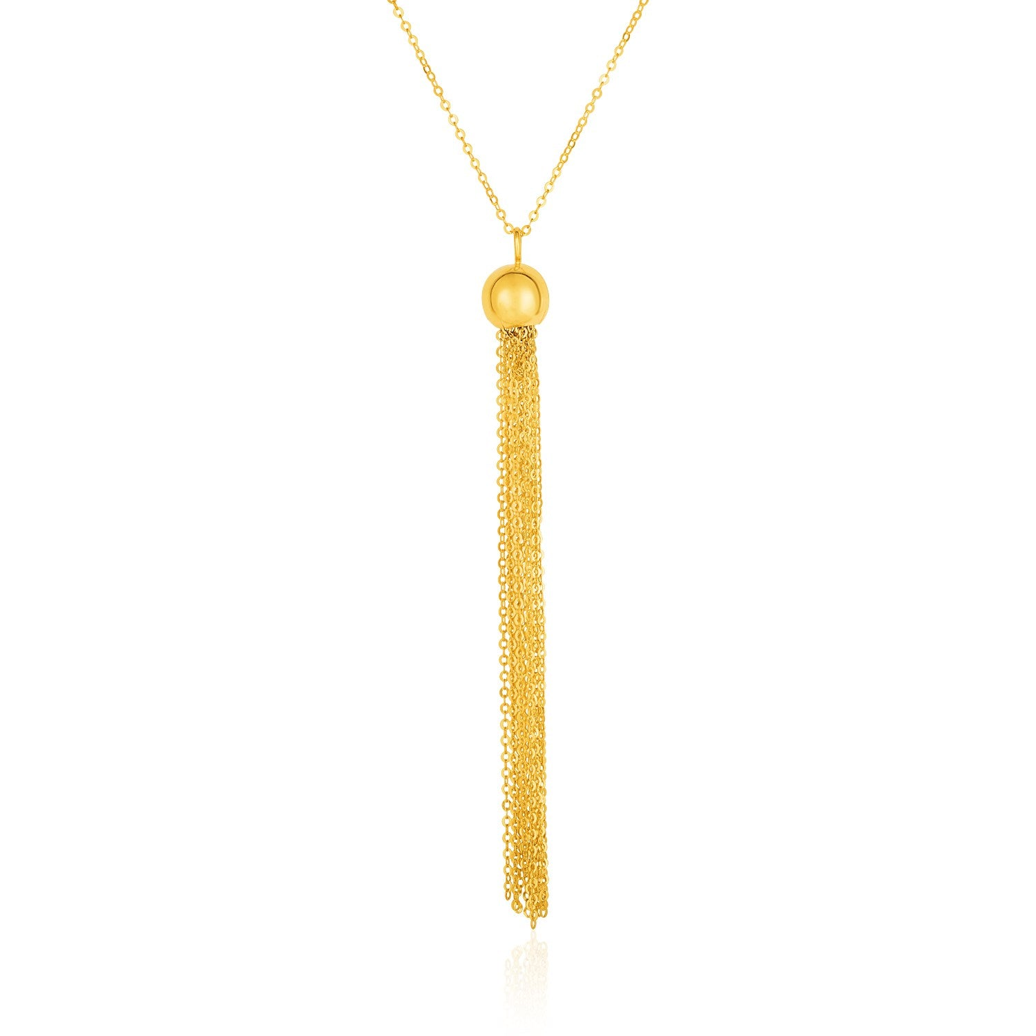 14K Yellow Gold Ball and Multi-Strand Tassel Necklace