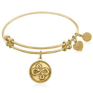 Expandable Bangle in Yellow Tone Brass with Best Friends Closeness Symbol