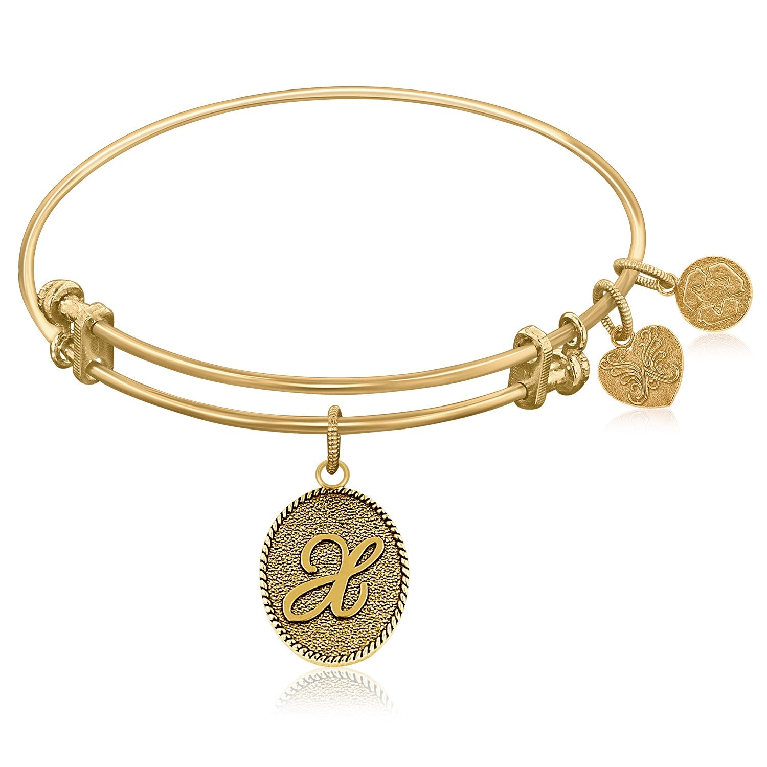 Expandable Bangle in Yellow Tone Brass with Initial X Symbol