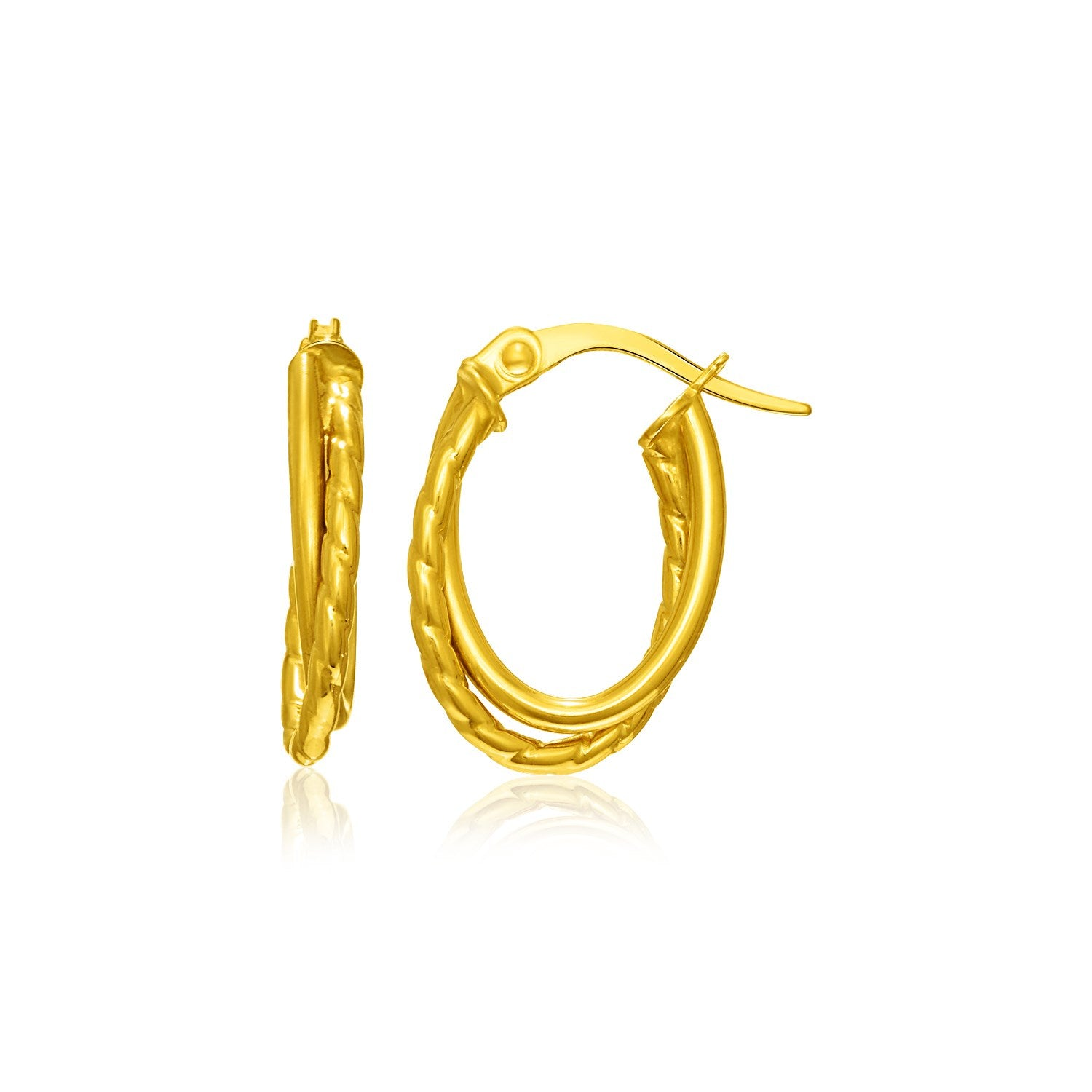 14K Yellow Gold Textured Double Row Hoop Earrings