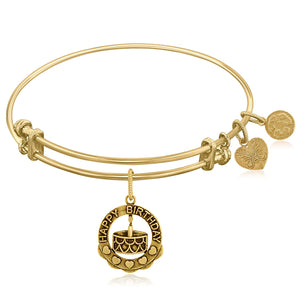 Expandable Yellow Tone Brass Bangle with Happy Birthday Symbol