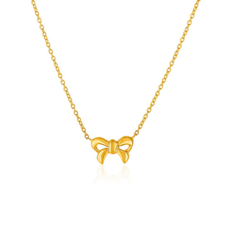 14K Yellow Gold Pendant with Bow