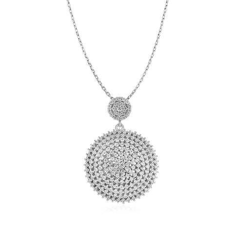 Distinctive Luxury London Style Domed Circle Pendant with Cubic Zirconia in Sterling Silver
