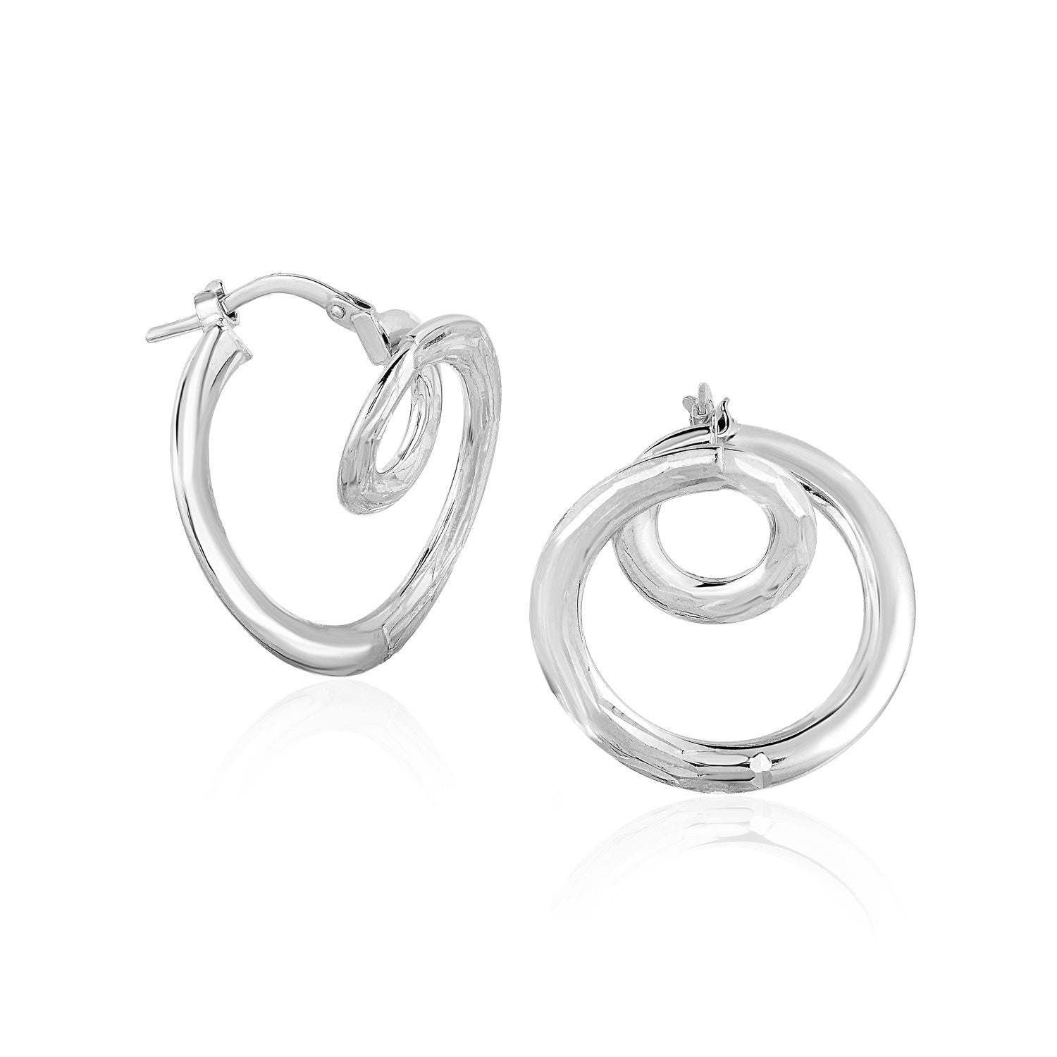14K White Gold Textured Coil Style Hoop Earrings