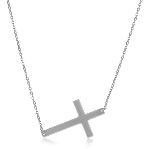 14K White Gold Plain Cross Motif Necklace