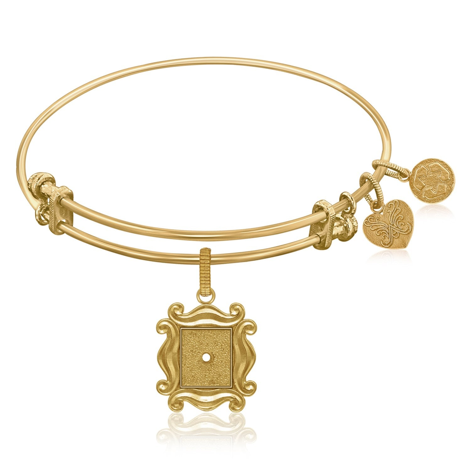 Expandable Bangle in Yellow Tone Brass with Picture Frame Over The Peephole Symbol
