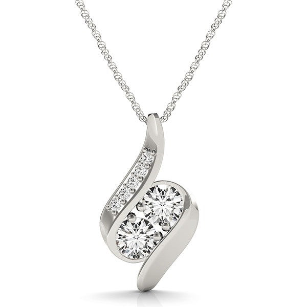 Unique Modern Monaco Style 14K White Gold Two Stone Curved Style Diamond Pendant (3/4 ct. tw.)