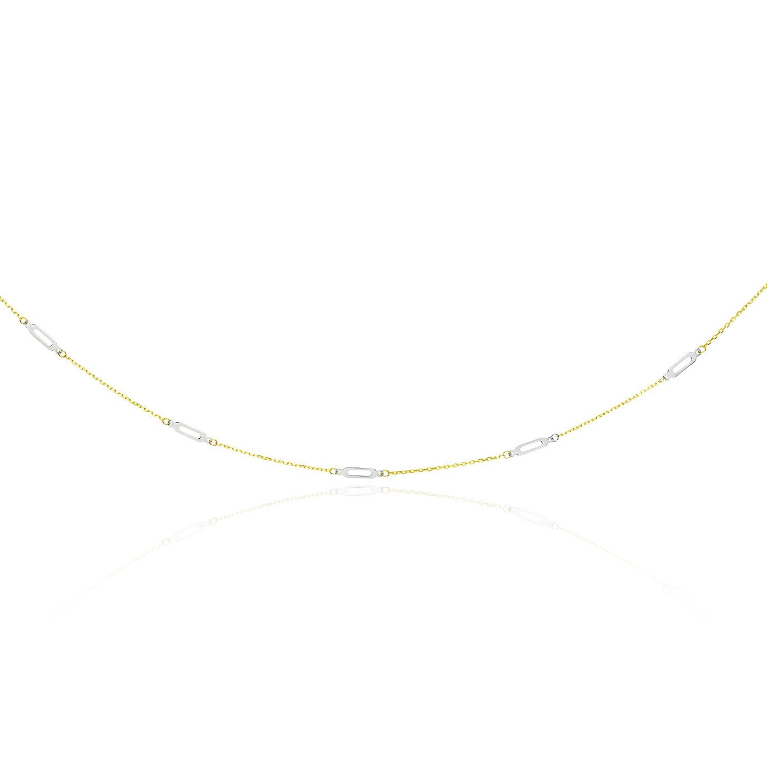 14K Two-Tone Gold Long Open Oval Station Chain Necklace