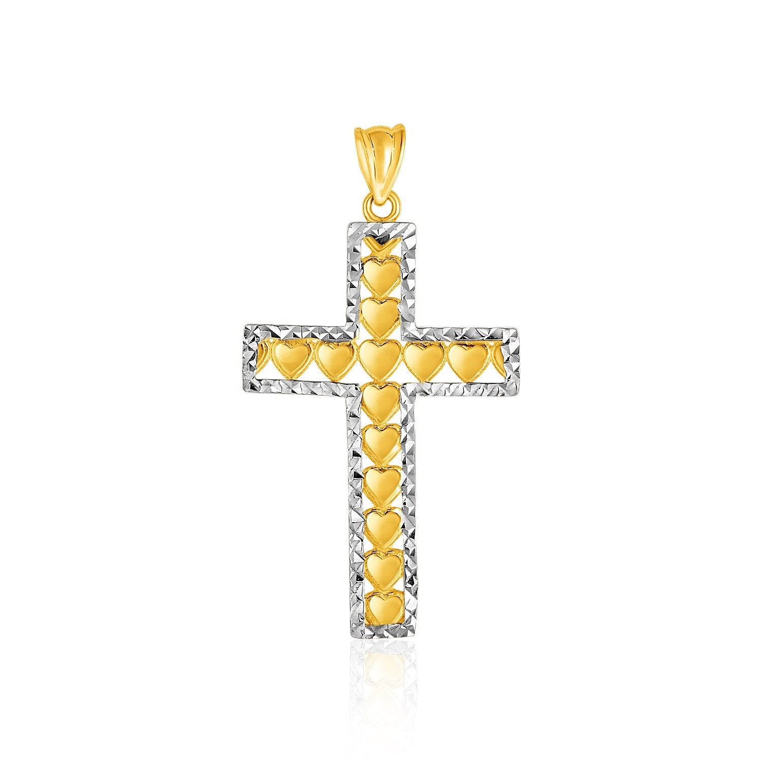 14K Two-Toned Yellow and White Gold Textured Cross Pendant with Hearts