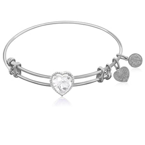 Expandable White Tone Brass Bangle with White CZ Heart Symbol
