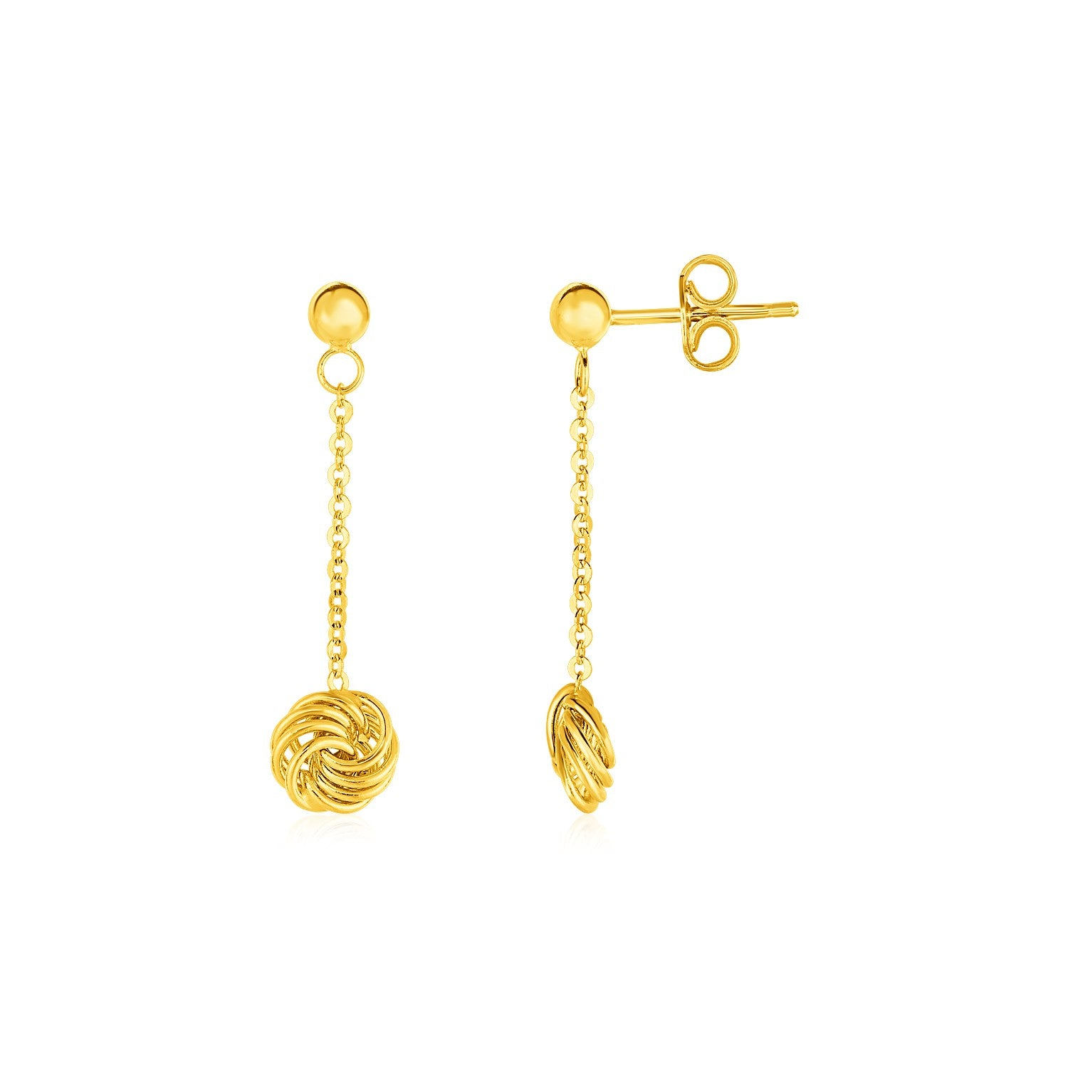 Post Earrings with Love Knot Drops in 14K Yellow Gold