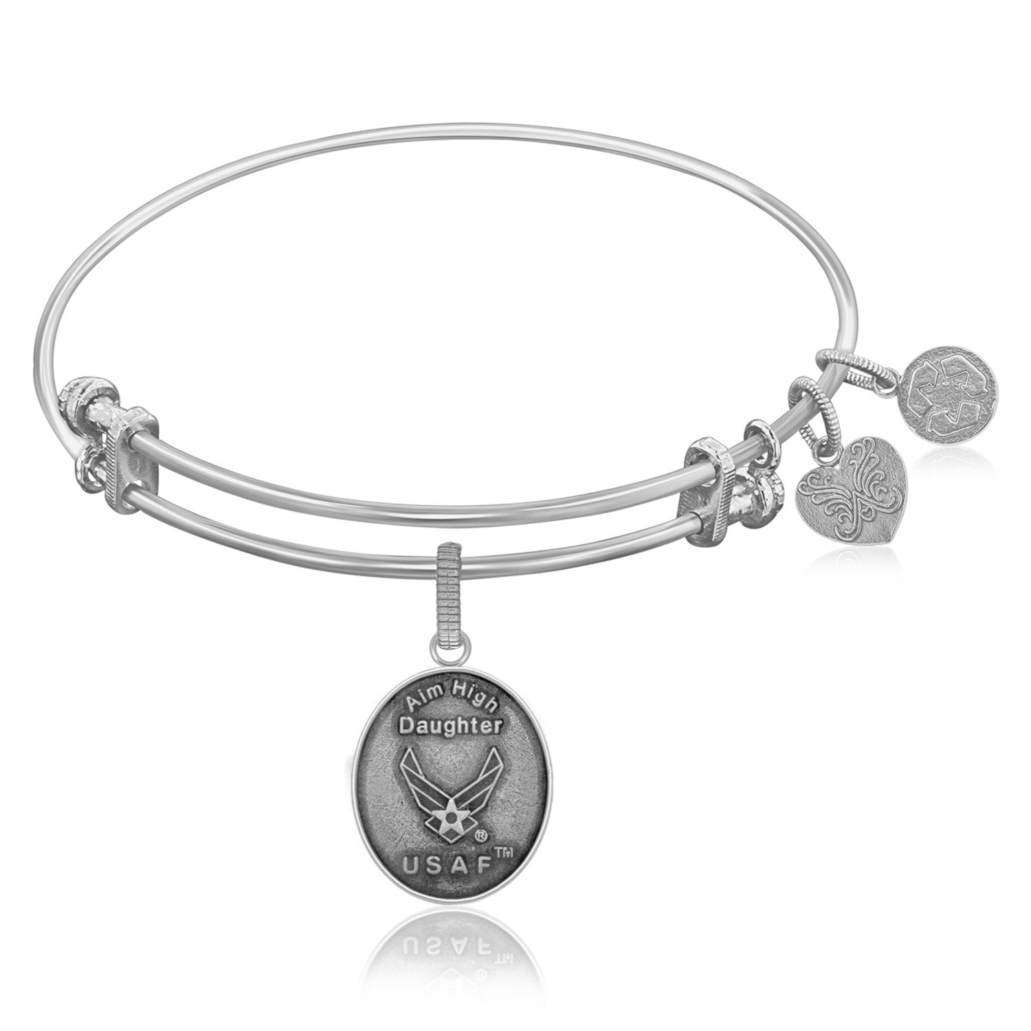 Expandable Bangle in White Tone Brass with USAF Aim High Daughter Symbol
