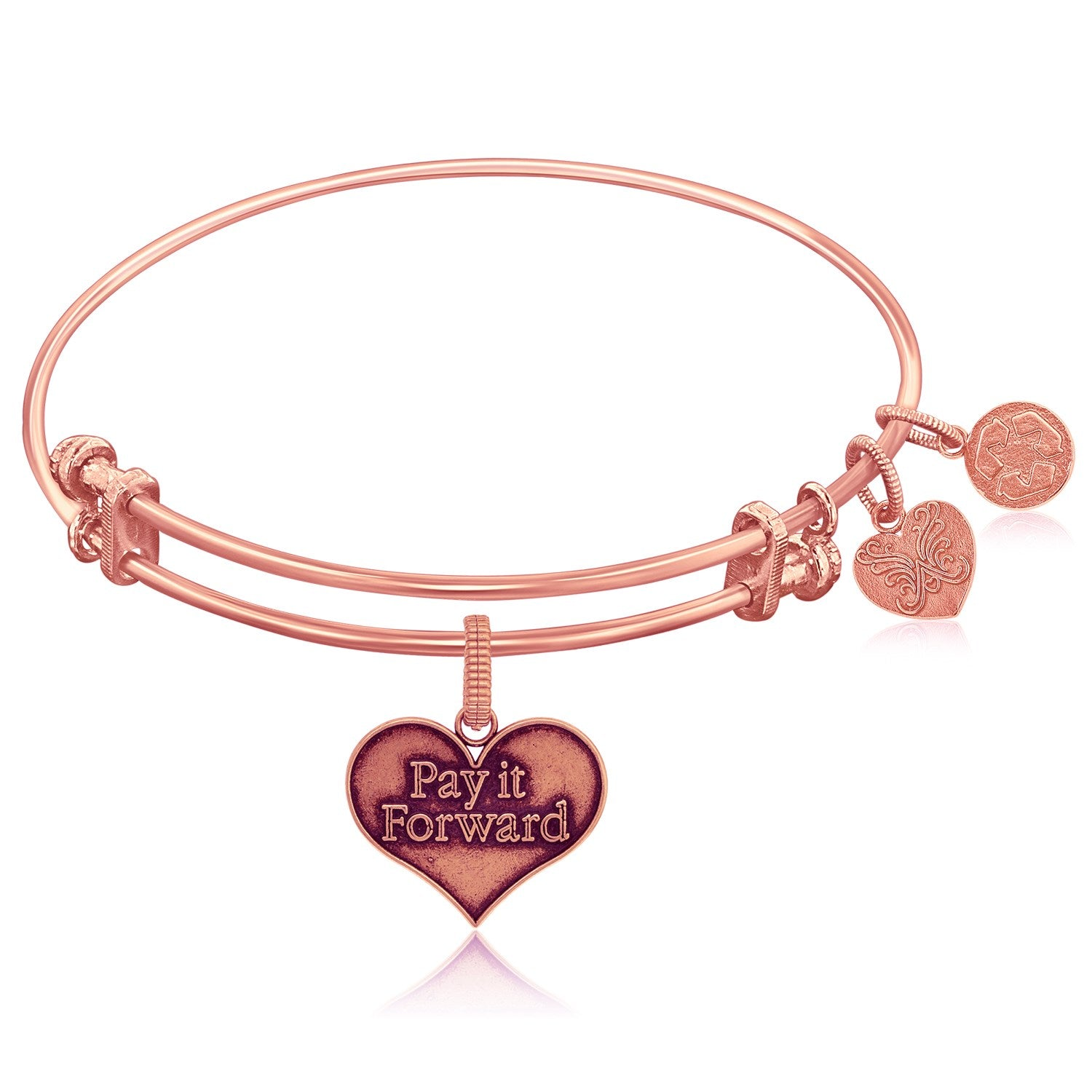 Expandable Pink Tone Brass Bangle with Pay It Forward Symbol