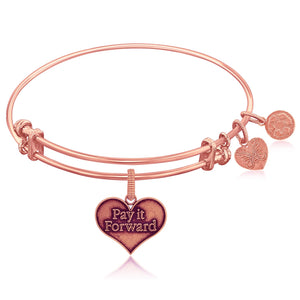 Luxury London Style Original Expandable Pink Tone Brass Bangle with Pay It Forward Symbol