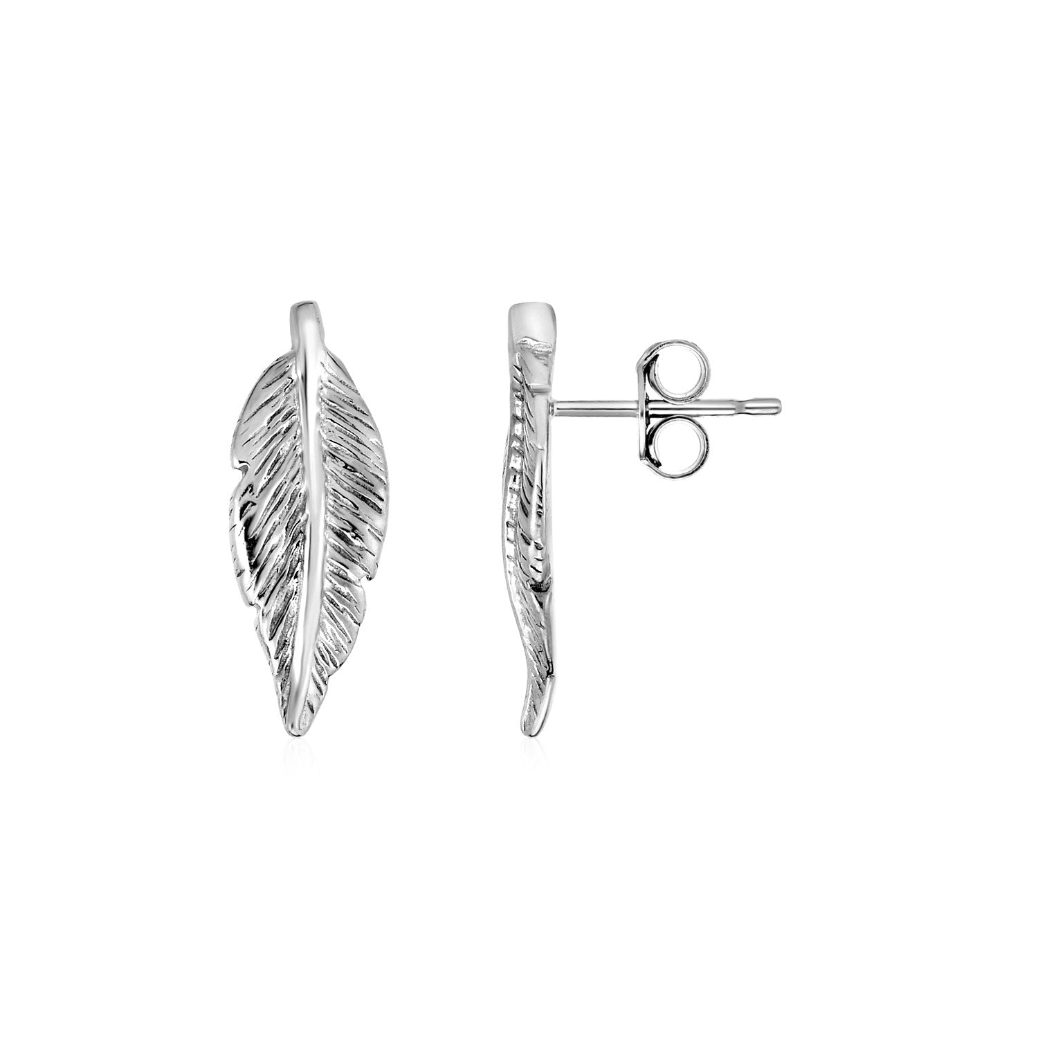 Unique Modern Paris Style Textured Leaf Earrings in Sterling Silver