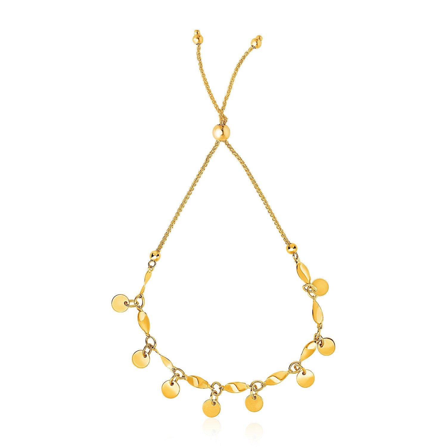 14K Yellow Gold Lariat Bracelet with Shiny Flat Disc Stations
