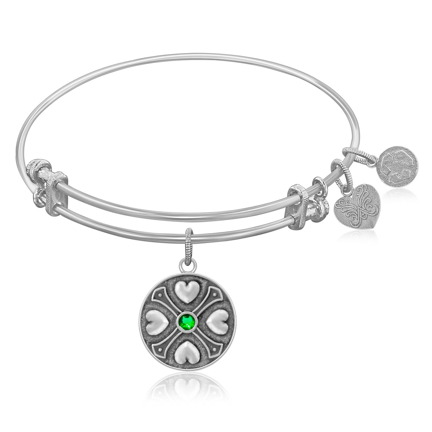 Expandable Bangle in White Tone Brass with Emerald May Symbol