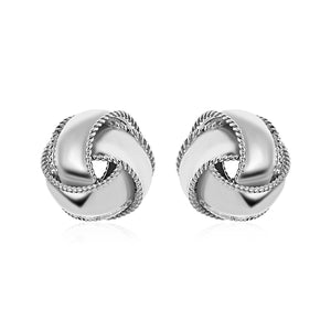 Textured and Polished Love Knot Earrings in Sterling Silver